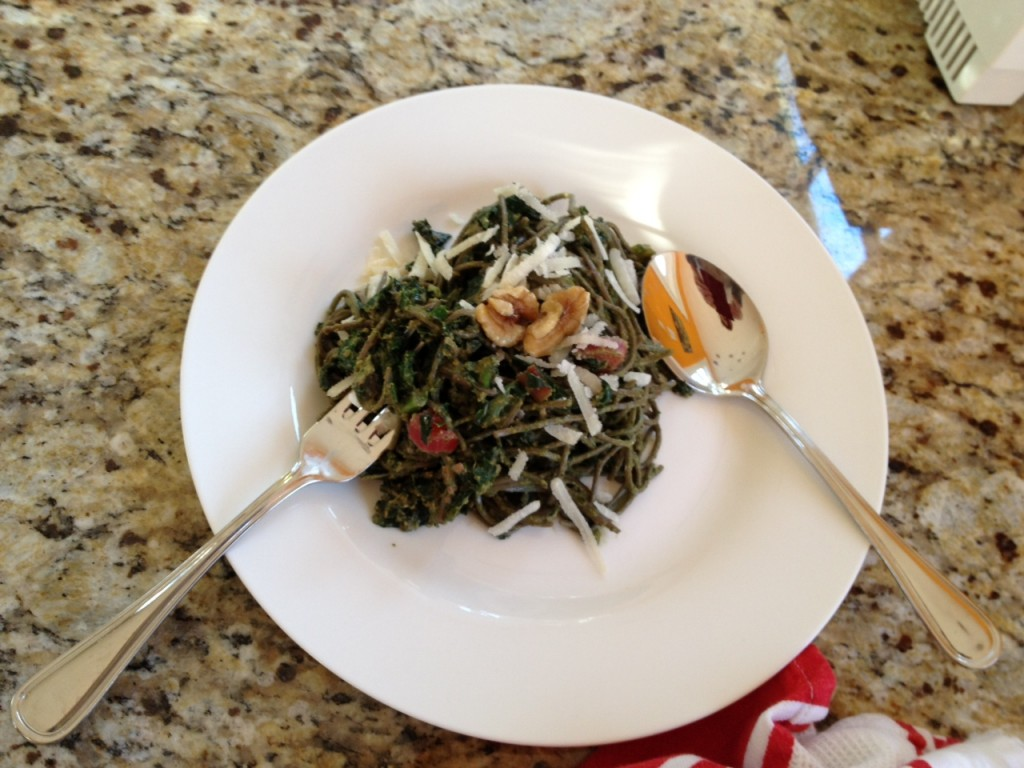 Buckwheat Pasta with spinach pesto