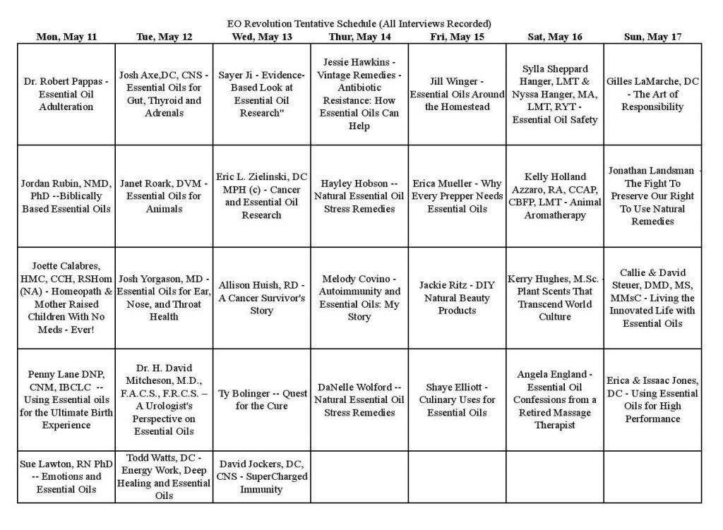 Free Essential Oils Summit Schedule