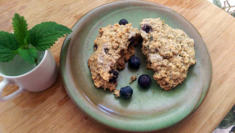 Lemon Balm Lavender Scone Recipe: made with fresh herbs, whole grains and berries